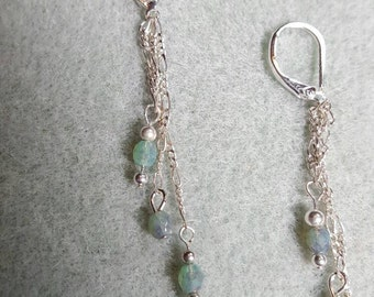 Turquoise/ bronze fire polished on silver chain mix