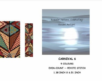Peyote Stitch Beading Bracelet Pattern -  Antique Mosaic - Carnival 6