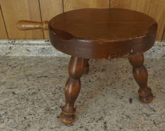 Vintage Wooden 3 Legged Milk Stool / 3 legs Milking Stool / Farm Stool