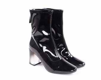 Black Patent Leather Boots With Transparent Heel
