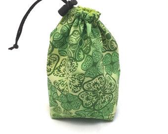 Shamrocks, Dice Bag, Draw String Bag, Free Standing, Revisable, Gamer Bag, D&D Dice Bag, Makeup Bag, Small Gift Bag, Pouch, RTS