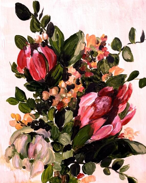 Flowers, protea bouquet art print