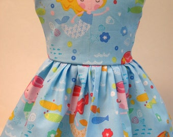 Mermaids in the Blue, Sleeveless Dress for your 18 Inch Doll A