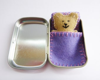 Bear in a Box™ w/ purple bedding - felt bear - Altoids tin toy - Altoids Smalls miniature felt bear - travel toy - ready to ship - P01