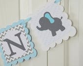 Elephant Name Banner, Birthday Party,  Baby shower Banner, Blue Elephant, Welcome Baby Banner, Aqua Blue, Green, Grey and Light Blue Banner
