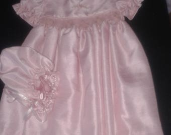 Pale Pink Satin-Backed Dupion Silk Smocked and Embroidered Dress and Bonnet
