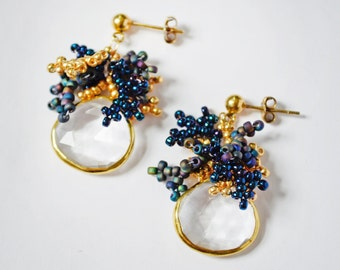 Natural Crystal Earrings, Gold Seed Bead Crystal Earrings, Beaded Earrings, Blue Bohemian Earrings, 14kt Gold Filled