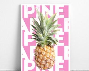 Pineapple Printable - Tropical Fruit Wall Art, Kitchen Decor, Printable Large Print, Digital Download, Mint and Yellow, Modern Minimalist