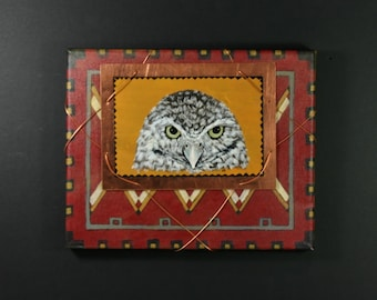 Burrowing Owl Painting on Copper with Tribal Canvas Original