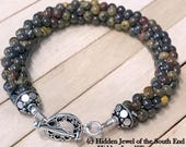 Tiger Iron Jasper crocheted bracelet, Jasper bracelet, natural stone bracelet, stack-able bracelet, sterling silver findings & toggle (CR10)