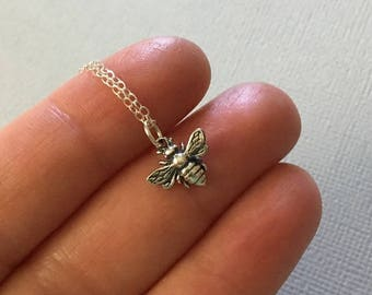 Silver Bee Necklace -Honey Bee Necklace in Silver -Tiny Silver Bee Necklace