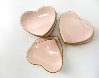Ring Dish, Ring Holder, Pink blush and Gold, Heart Favor, wedding, engagement, baby shower, Guest or Teacher Gift, IN STOCK