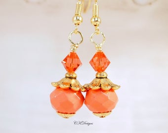 Peach beaded Earrings, Orange Beaded Pierced or Clip-on Earrings,  Swarovski Crystal Earrings, BoHo Earrings Handmade Earrings CKDesigns.us