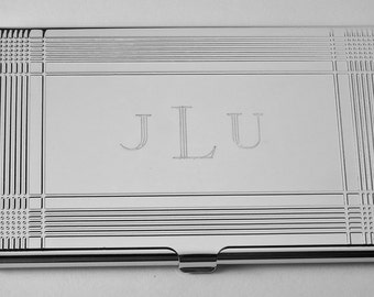 Business Card Case Custom Engraved Personalized Card Case  -Hand Engraved