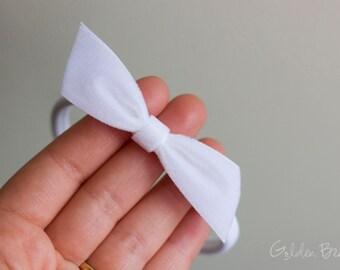 White Velvet Bow - Emily White Velvet Bow Headband -  Emily Small White Velvet Bow Handmade Baby Headband - Baby to Adult Headband