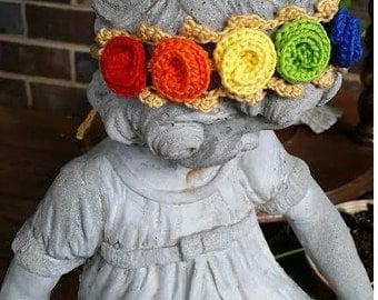 Rainbow Baby Crochet Rosette Headband