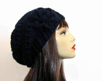 Blue Crochet  Beanie Navy Blue Slouch Hat With Flower Crochet blue knit Beanie Blue Slouch Hat Blue Slouch Cap Dark Blue Tam Dark blue beret