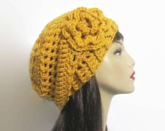 Mustard  Slouchy Hat Gold Slouch Beanie with Flower Gold Crochet Hat With Flower  Gold Slouch knit Beanie Slouchy Beret Mustard Slouch Tam