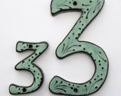 Outdoor Ceramic House Numbers or Letters - 7 inch or 8 inch Size - Aqua Mist Color - MADE TO ORDER
