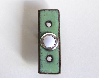 Rectangle Doorbell Plate Cover with Standard Button - Ultra Modern - 1 inch Wide - Aqua Mist - Handmade Ceramic Pottery - MADE TO ORDER