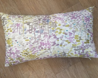 Modern colour palette of violet purple and chartreuse - yellow green inspired WATER COLOURED  design of trees  statement a cushion cover.