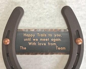 Coworker Retirement gift for horse lover, Copper engraved plate on horseshoe, w/ gift box & screws incl. Ready to hang.