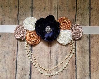 Sash for wedding or maternity in gold navy and ivory