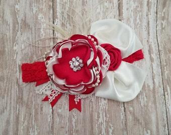 Christmas red and ivory headband Ott headband rosette headband