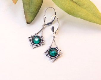 Emerald Earrings, May Birthstone, Simple Jewelry Under 30, Timeless Elegant Jewelry, Gift For Mother, Dainty Silver Heirloom Earrings