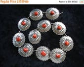 Now On Sale Large Vintage Silver & Red Belt Mid Century Collectible Costume Jewelry 70s