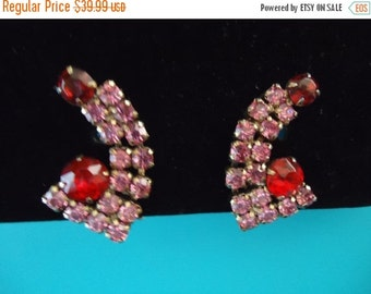 Now On Sale Vintage Rhinestone Pink Red 1950's Earrings Old Hollywood Glam Black Tie Formal Glamour Girl Rockabilly Retro Jewelry
