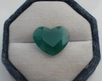 Green Chalcedony Heart Natural Gem 20mm