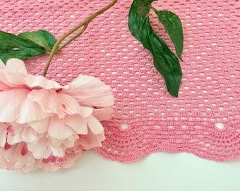 Large Doily - Crochet Doily - Pink Crochet Doilies Vintage Doilies Crochet Rug Crochet Table Runner Crochet Tablecloth Crochet Mat Large