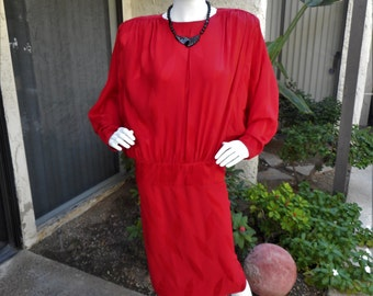Vintage 1980's David JoseffRed Silk Dress with Dolman Sleeves - Size Small