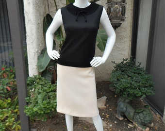 Vintage 1960's Black Sleeveless Top - Size 12