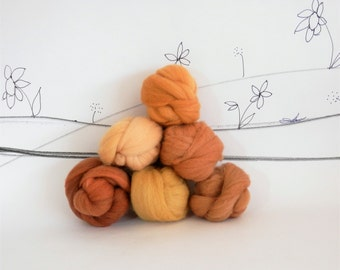 Wooly Buns roving, fiber sampler, gold wool roving assortment, needle felting supplies in Giraffe, 1.5 oz, collection, rust wool colors