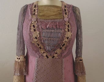 Edwardian Style Stage Costume Aged Lace Lavender