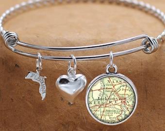 Jacksonville Florida Map FL State Charm Bangle Bracelet Personalized Custom Vintage Map Jewelry Stainless Steel Bracelet