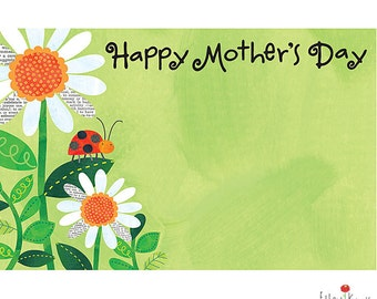 "50 ""Happy Mother's Day"" LadyBug & Daisies Florist Blank Enclosure Cards Small Tags Crafts (Free Shipping!)"