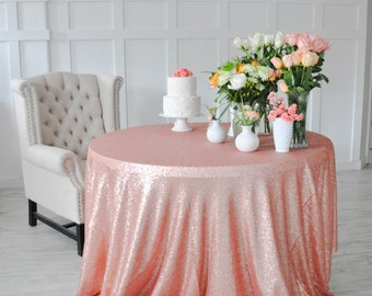 "Blush Pink Sequin Tablecloth Table Cover for rectangle or round tables - 90"" x 132"""