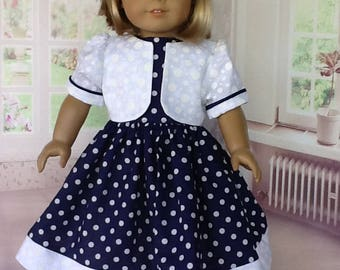 18 inch doll dress, jacket, and hair clip. Fits American Girl Dolls. Navy and white dots.