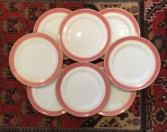 RARE Set of Eight Royal Doulton England Coral and 24K Gold Rimmed Dinner Plates - Vintage Royal Doulton Plates