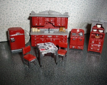 """Quarter Inch Scale Realistic 1950""""s Red Style Kitchen Set"""