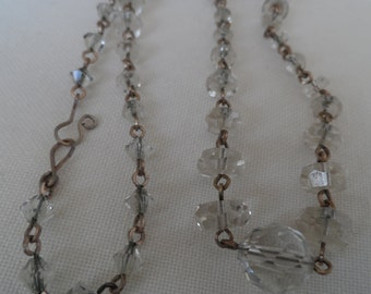 1920's chain link crystal bead necklace with disc shaped beads