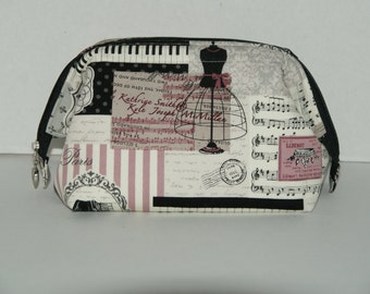 """Wire Frame Zipper Pouch With Pocket / Padded Cosmetic Bag Made with Japanese Cotton Oxford Fabric """"Antique Paris  """""""
