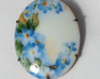 French Porcelain Brooch hand painted