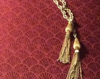 Vintage Gold-tone Lariat Chain with Tassels Necklace
