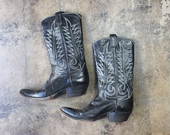 Size 8 1/2 / Women's Cowboy BOOTS / Black Leather Tony Lama Boots / Vintage 1970's Western