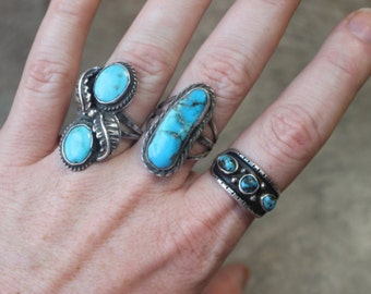 Turquiose RING / Vintage Desert Ring / Southwest Jewelry / Sterling Silver Size 9 Ring