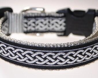 "Celtic Knot Black and Silver3/4"" Adjustable Dog Collar"
